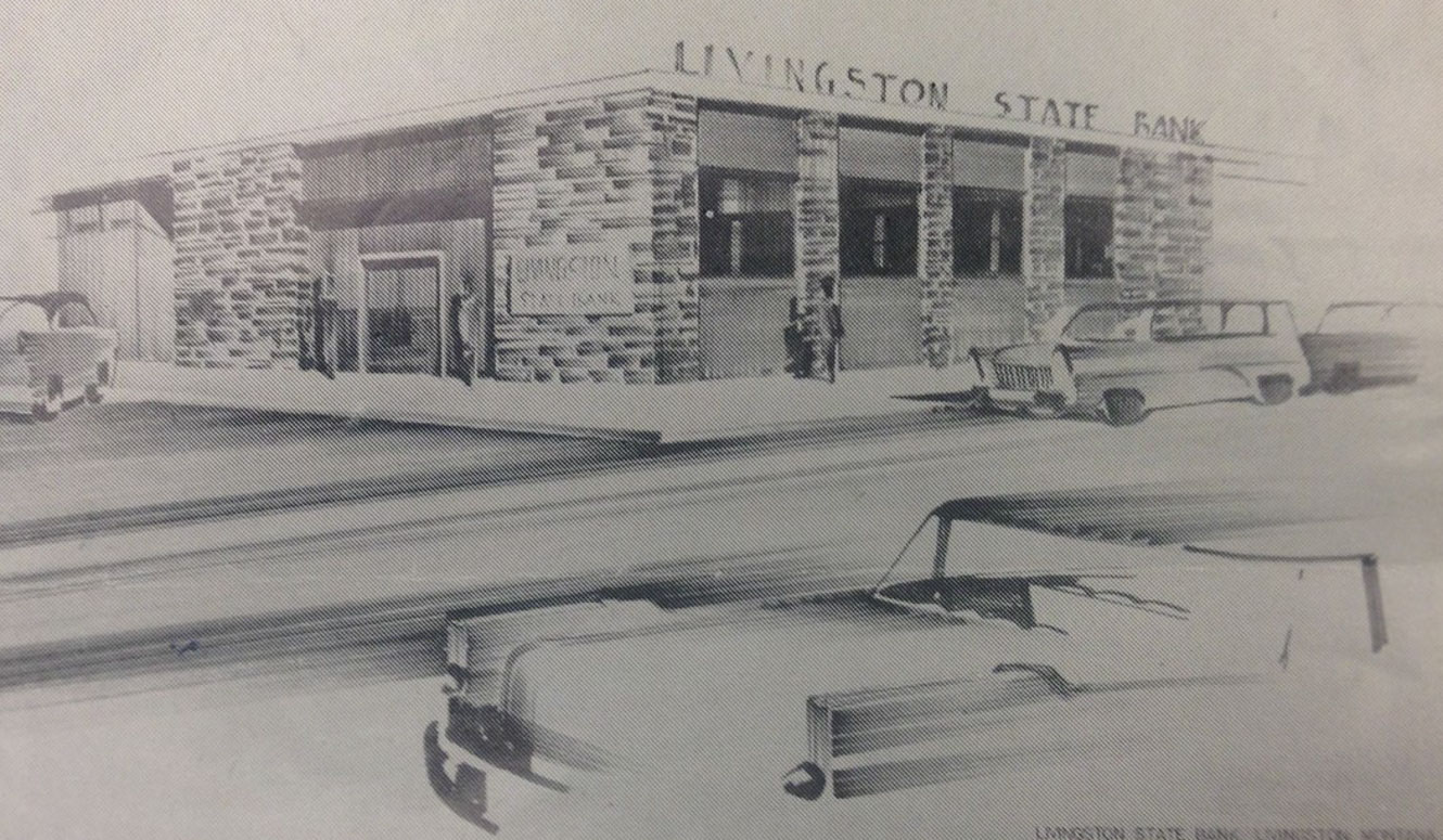 Pencil sketch of Livingston State Bank.
