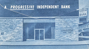 Bank postcard with the logo A Progressive Independent Bank.