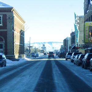 Downtown Livingston, Montana, on a winter day.